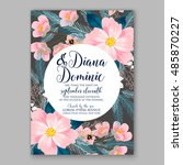 romantic pink peony bouquet... | Shutterstock .eps vector #485870227