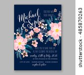 wedding invitation or card with ... | Shutterstock .eps vector #485870263