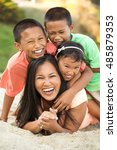 asian mother with her children... | Shutterstock . vector #485879353