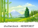 mount fuji and bamboo trees | Shutterstock .eps vector #485893837