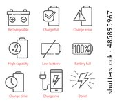 vector linear icons set with...