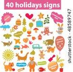 40 holidays signs. vector | Shutterstock .eps vector #48589747