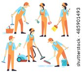 cleaning staff in different... | Shutterstock .eps vector #485901493