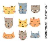 cute cat illustration | Shutterstock .eps vector #485904907