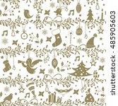 vintage christmas pattern | Shutterstock .eps vector #485905603