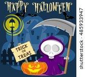 halloween background. funny... | Shutterstock .eps vector #485933947