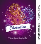fireworks background ... | Shutterstock .eps vector #485934247