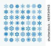 collection of blue snowflakes... | Shutterstock .eps vector #485934943