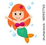cute little mermaid. vector... | Shutterstock .eps vector #485937763
