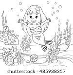 mermaid. underwater world.... | Shutterstock .eps vector #485938357