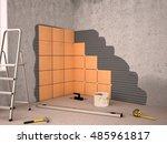 laying ceramic tiles. ceramic... | Shutterstock . vector #485961817