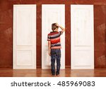 concept of choice. doubting boy ... | Shutterstock . vector #485969083