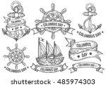 happy columbus day vector hand... | Shutterstock .eps vector #485974303
