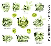 set of stickers. vegan cafe ... | Shutterstock .eps vector #485987203