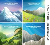 mountains landscapes 4 flat... | Shutterstock . vector #485987473