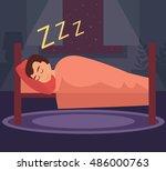 man sleeping in bed. vector... | Shutterstock .eps vector #486000763