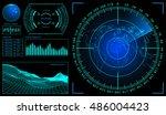 military green radar. screen... | Shutterstock . vector #486004423