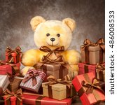 homemade teddy bear and a lot... | Shutterstock . vector #486008533