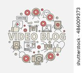 video blog round illustration.... | Shutterstock .eps vector #486009373