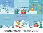 set of winter leisure vector... | Shutterstock .eps vector #486017017