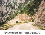 mountain road in verdon gorge... | Shutterstock . vector #486018673