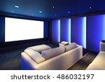 home theater  luxury interior ... | Shutterstock . vector #486032197