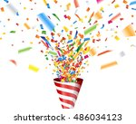 party popper with confetti | Shutterstock .eps vector #486034123