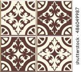set of four floor tiles  ... | Shutterstock .eps vector #486049987