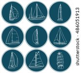 Set Of 9 Boats With Sails. Eac...