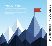 polygonal mountains with a flag ...   Shutterstock .eps vector #486052183