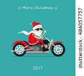 merry christmas  santa claus... | Shutterstock .eps vector #486057757