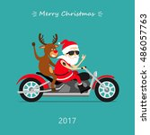 merry christmas  santa claus... | Shutterstock .eps vector #486057763