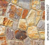 brown stone wall texture and... | Shutterstock . vector #486060127