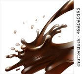 liquid cocoa  chocolate ... | Shutterstock .eps vector #486060193