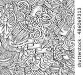 cartoon cute doodles new year... | Shutterstock .eps vector #486069313