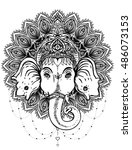 hindu lord ganesha over ornate... | Shutterstock .eps vector #486073153