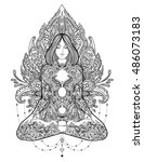 yoga. woman ornate silhouette... | Shutterstock .eps vector #486073183