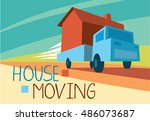 moving house concept vector... | Shutterstock .eps vector #486073687