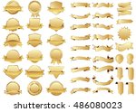 banner gold vector icon set on... | Shutterstock .eps vector #486080023