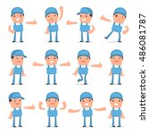set of funny and cheerful...   Shutterstock .eps vector #486081787