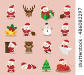 set of cartoon santa claus... | Shutterstock .eps vector #486082297
