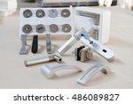 door handle with lock. door... | Shutterstock . vector #486089827