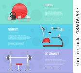 fitness training and gym club... | Shutterstock .eps vector #486095947