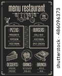 placemat menu restaurant food... | Shutterstock .eps vector #486096373