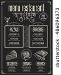placemat menu restaurant food... | Shutterstock .eps vector #486096373