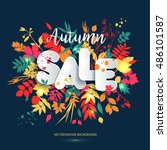 text sale in paper style on... | Shutterstock .eps vector #486101587