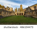 Orval Abbey Ruins With Yellow...