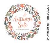 text autumn sale in... | Shutterstock .eps vector #486106273
