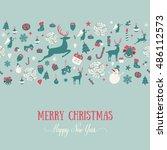 seamless pattern design. merry... | Shutterstock .eps vector #486112573