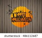 happy halloween design on... | Shutterstock .eps vector #486112687